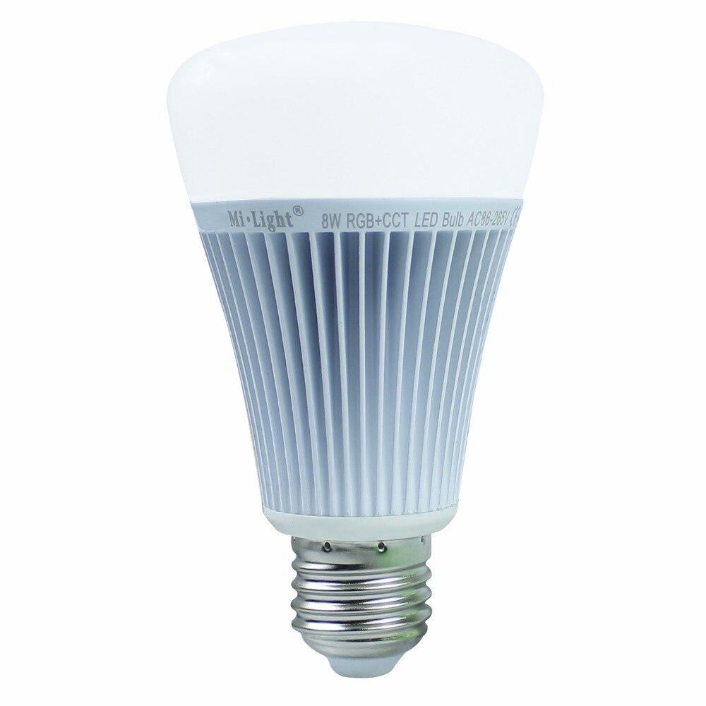 MiLight LED Bulb Dimmable 8W E27 RGB CCT Led Lamp Light Spotlight  RGBWW 2.4G Smart Lampara LED House Light Indoor Decoration  milight led bulb dimmable 8w e27 rgb cct led lamp light spotlight rgbww 2 4g smart lampara led house light indoor decoration