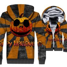 Halloween  Pumpkin Jacket Men Funny Hoodie Jack-O-Lantern Sweatshirt Winter Thick Fleece Warm 3D Print Coat Skull Sweetswear 5XL