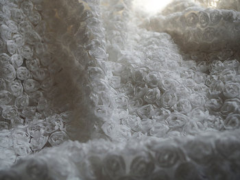 off white Rosette Lace Fabric, chiffon rosette fabric, Baby Photography Prop Backdrop Blanket ON SALE MF167