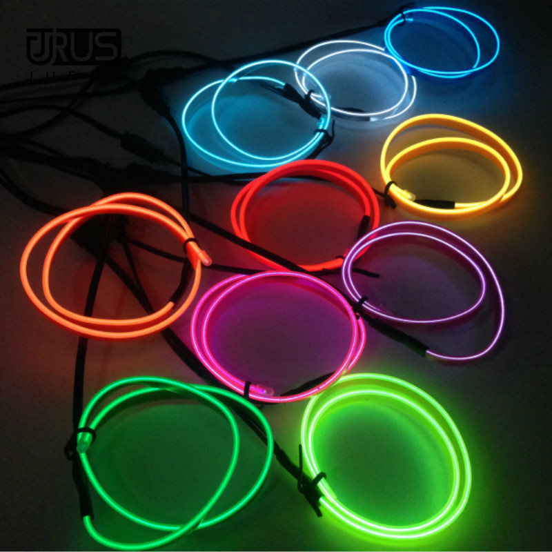 JURUS 3Meters 10Colors Auto Interior Lights Led Neon Light Wire Glow Rope Tube Line Car Ambient Lights Accessorie 12V Inverter
