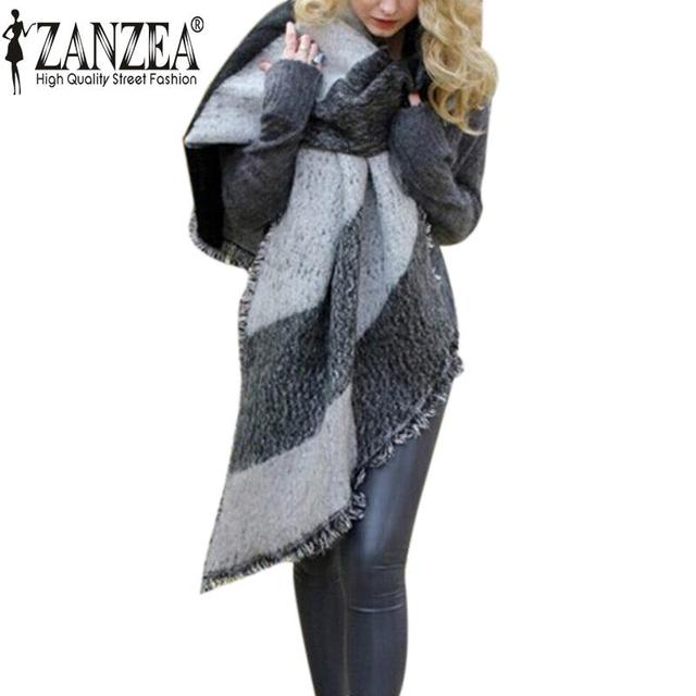 3 Colors Hot Zanzea 2016 Winter Fashion Blanket Scarf Female Cashmere Pashmina Wool Scarf Shawl Warm Thick Scarves Cape Wraps