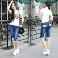 Nuevo Agujero Patchwork Capris Puños Ripped Jeans Para Las Mujeres de Moda de Verano Pantalones Cortos de Mezclilla Pantalones Para Dama Feminino Plus Size