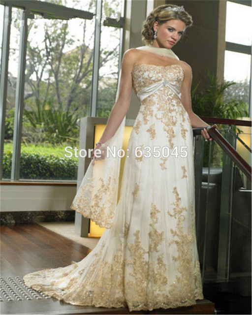 Free Shawl Bridal Gown Custom Made Ivory And Gold