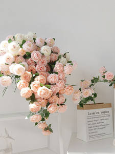 Artificial Silk Backdrop Flowers Rose-Peony Wedding-Bouquet Small-Bud Beautiful Outdoor