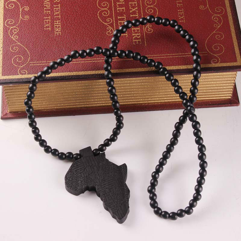 Geographical wild pattern laser engraved african wooden bead geographical wild pattern laser engraved african wooden bead necklace solid wood africa map pendant hiphop necklace x 1 in pendants from jewelry mozeypictures Choice Image