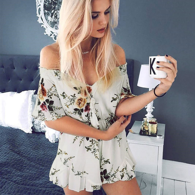 2018 summer women playsuits Boho slash neck floral playsuits flare short sleeve Strapless beachwear Ruffles casual shorts