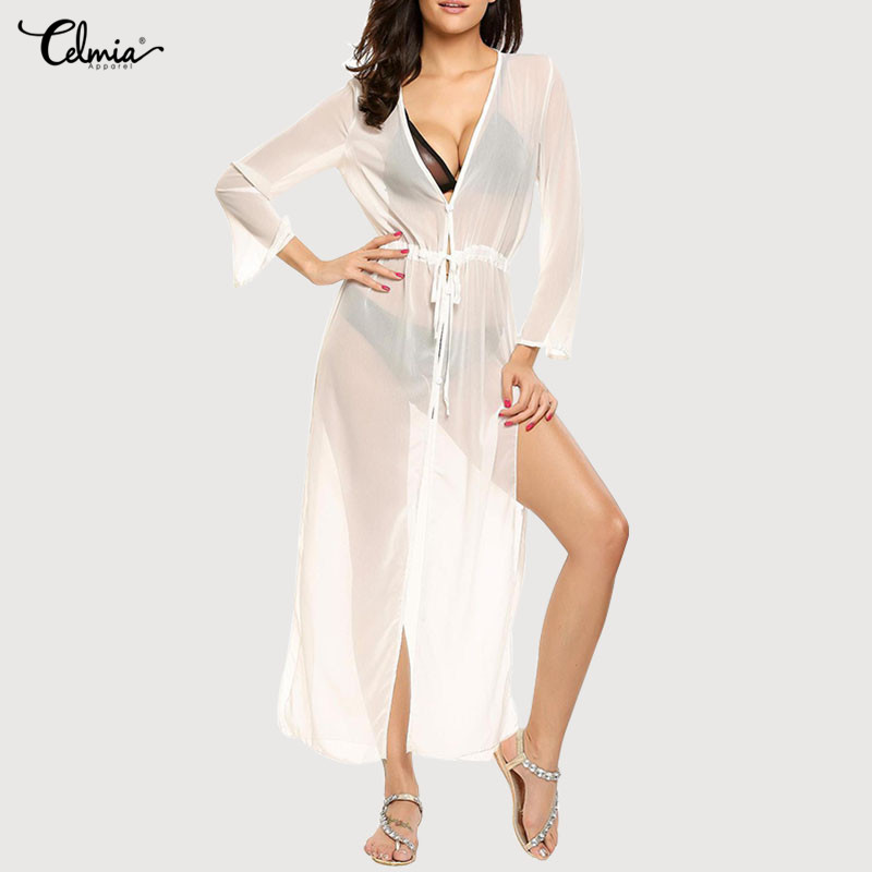 Celmia Swimsuit Cover Up 2018 Women Sexy Beach Cover-Ups Chiffon Long Solid Beach Cardigan Bathing Suit Cover Up