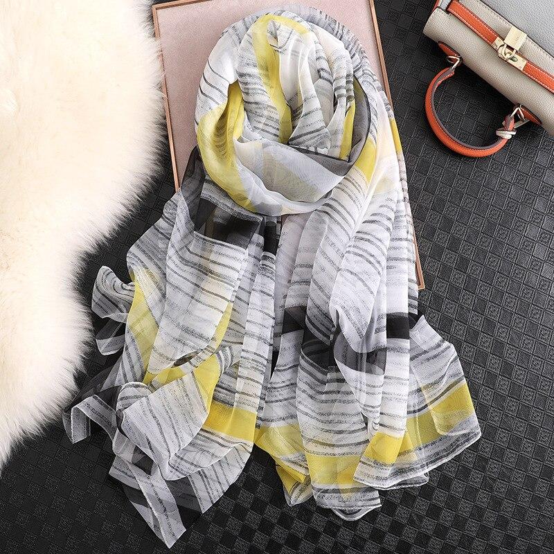 designer brand women   scarf   striped print summer silk   scarves   shawls and   wraps   lady big size pashmina hijabs foulard beach stoles