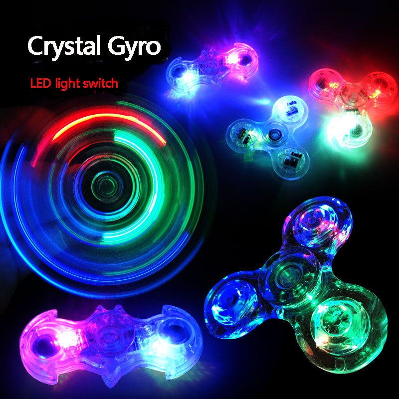 Transparent Shine Crystal Fingertip Gyro LED Lamp Fingertip Gyro Spinning Top Fidget Spinner EDC Hand Spinner Finger Spiner A238 ...
