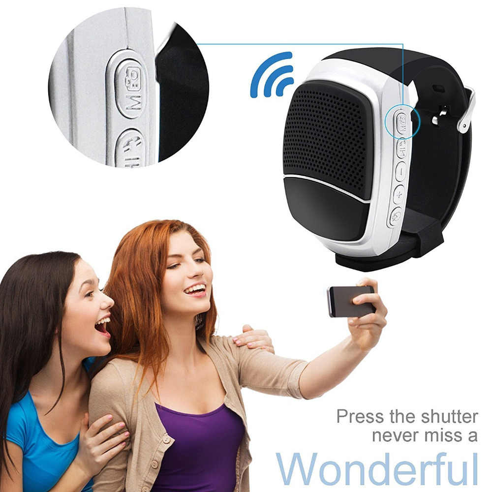 Terbaru Olahraga Bluetooth Speaker Hands-Free Panggilan TF Card Bermain FM Radio Self-Timer Speaker Nirkabel Smart Watch tampilan Waktu