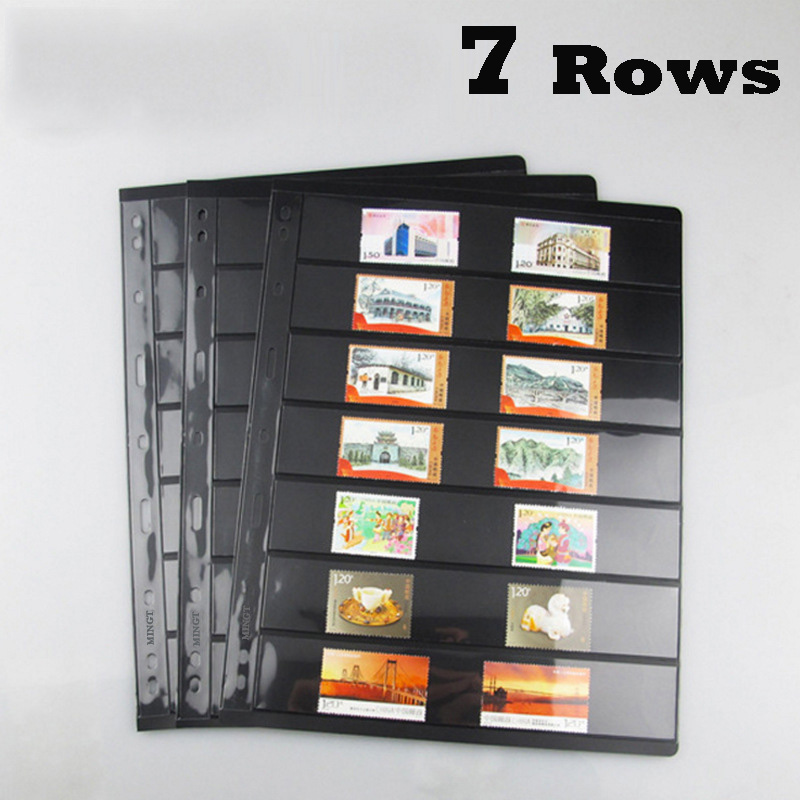 Quality 7 Rows 10PCS Loose Leaf Postage Stamp Album Sheets Product Display Double sided Standard 9 holes PCCB /MINGT-in Stamps from Home & Garden
