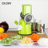 OLOEY Manual Vegetable Fruits Cutter Slicer 3 Stainless Steel Blades Kitchen Gadget Mandoline Cheese Cucumber Carrot Choppers