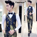 Mauchley New Arrival 2017 Spring Mens Slim Fit Vest Gold Floral Wedding Party Waistcoat Male Suit Vests Social Dress Erkek Yelek