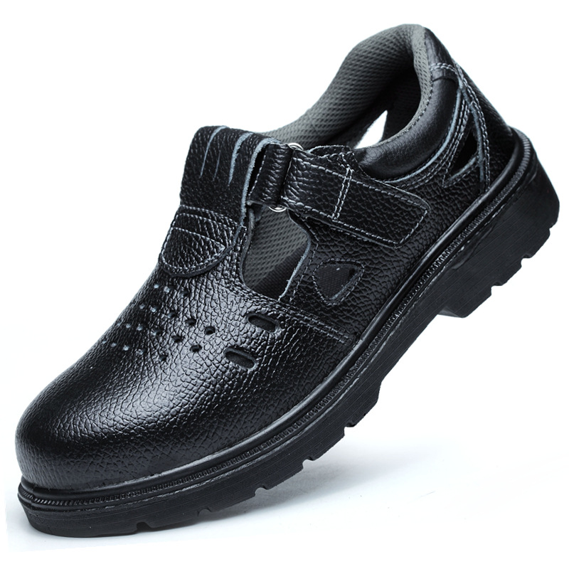 men black breathable steel toe cap work safety shoes cow leather sandals tooling summer boots protective footwear zapatos hombre plus size men breathable dress shoe steel toe caps work safety summer shoes womens plate sole outdoors tooling low boots leather