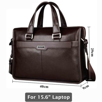 Genuine leather briefcase, laptop leather bag, for 15 inch notebook computer, 15.6 inch laptop bag 1