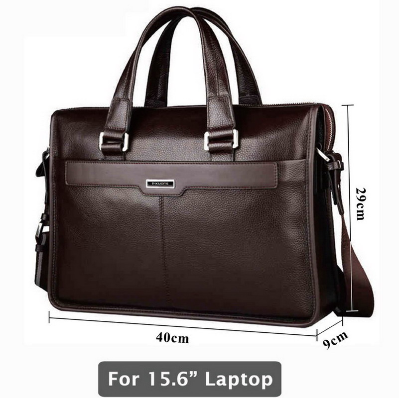 Image 1 - Genuine leather briefcase, laptop leather bag, for 15 inch notebook computer, 15.6 inch laptop bag-in Briefcases from Luggage & Bags