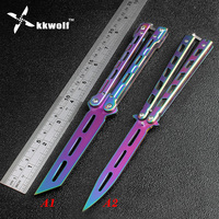 KKWOLF Rainbow Color Butterfly Training Knife Stainless Steel Practice Trainer Balisong Knife Karambit Folding Knife No