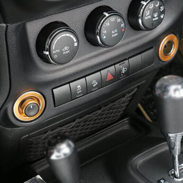 Superb Interior Accessories For Jeep Wrangler Console Adjust Button Knob Cigarette  Lighter Decorative Trim Cover Sticker Frame