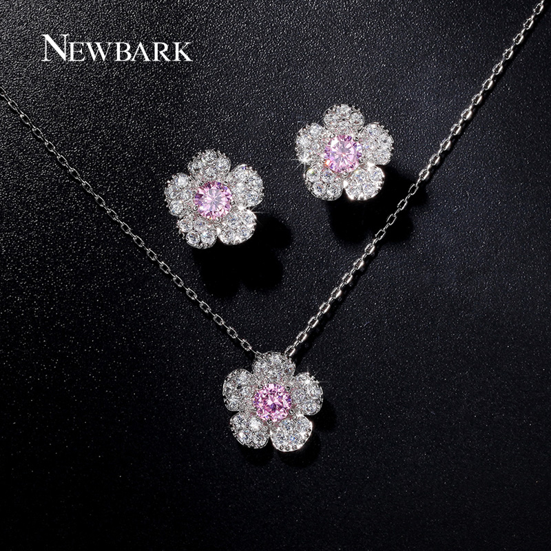 font b NEWBARK b font Fashion White Gold Plated Jewelry Sets Small Flower Shape font