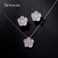NEWBARK Fashion White Gold Plated Jewelry Sets Small Flower Shape Necklace And Earrings Paved Micro CZ Stone Party GiftJewelry