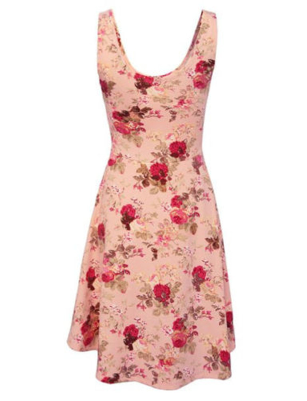<font><b>Frauen</b></font> ladies <font><b>Sexy</b></font> summer casual elegant bodycon sleeveless floral print pleated mini <font><b>dress</b></font> beach sundress image