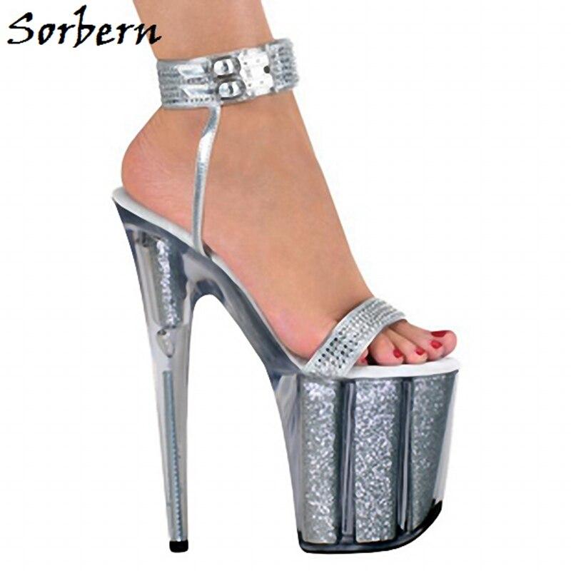 Sorbern Personalized Ankle Straps Sandals Custom Color Designer Platform High Heels Open Toe Summer Ladies Sandals Clear Shoes