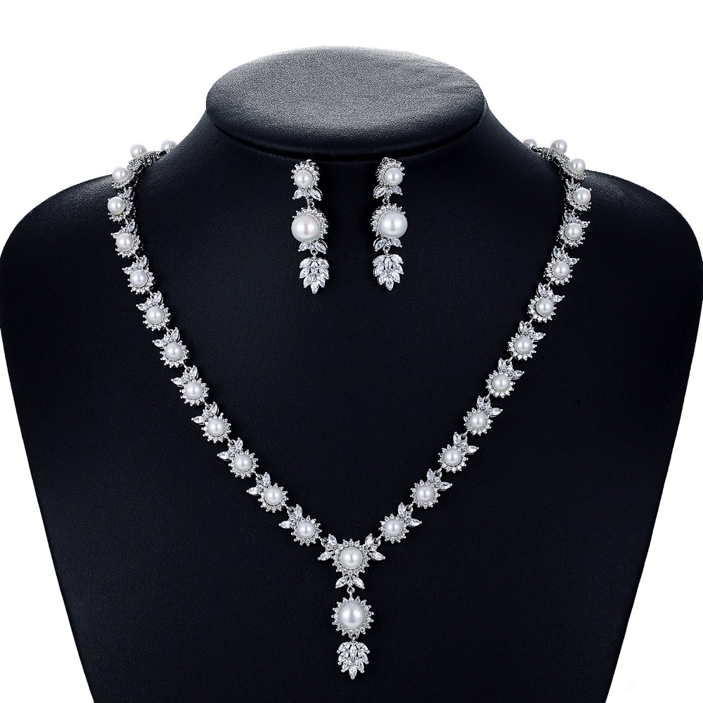 Crystal CZ Cubic Zirconia Bridal Wedding Pearl Necklace Earring Set Jewelry Sets for Women Accessories CN10049
