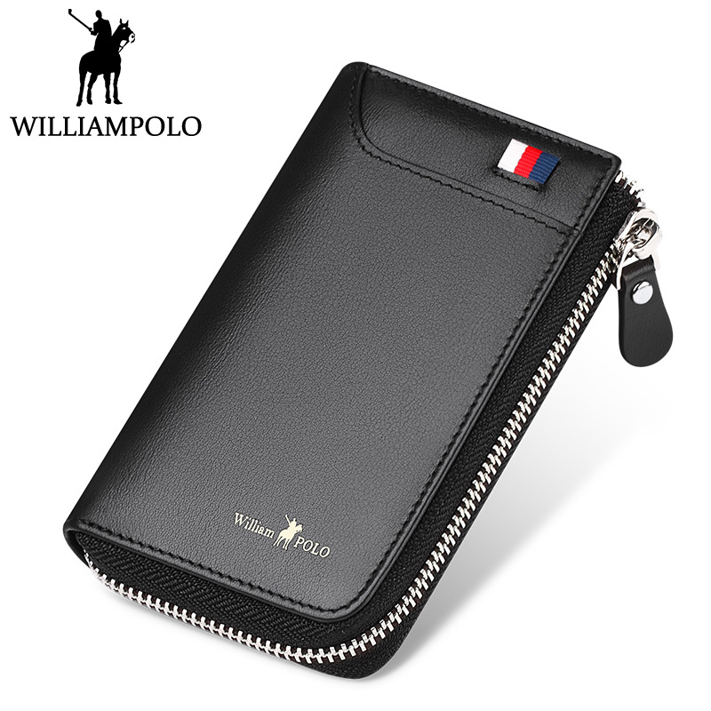 WILLIAMPOLO Genuine Leather Credit Card Holder Men's Zipper Card Holder 2018 New Design Small Pocket Pouch Card Wallet Holder mooncase cute little witch leather side flip wallet card holder stand pouch чехол для huawei ascend y625 purple
