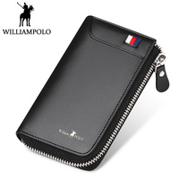 WILLIAMPOLO Genuine Leather Credit Card Holder Men's Zipper Card Holder 2018 New Design Small Pocket Pouch Card Wallet Holder