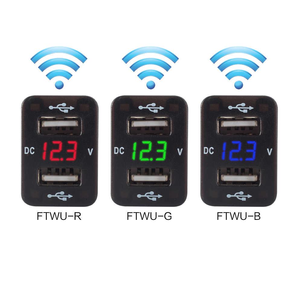 Die meisten Trendy 4,2 EIN Dual USB Auto Ladegerät Voltmeter 12V Buchse USB Adapter Zelle Ladegeräte Schnell Dual Port USB auto Ladegerät Für Toyota