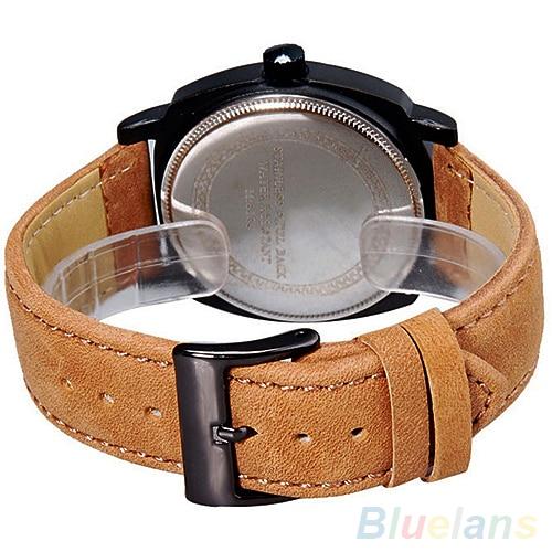 Unisex Mens Stylish Quartz Analog Faux Leather Band Wrist Watch