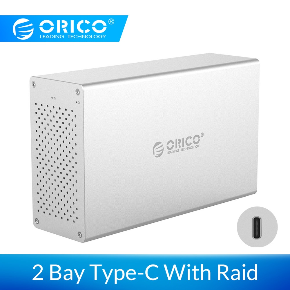 "ORICO 2 Bay Type C Hard Drive Case With Raid Aluminum Alloy 5Gbps Superspeed 3.5"" HDD Enclosure With Power Adapter Support 20TB