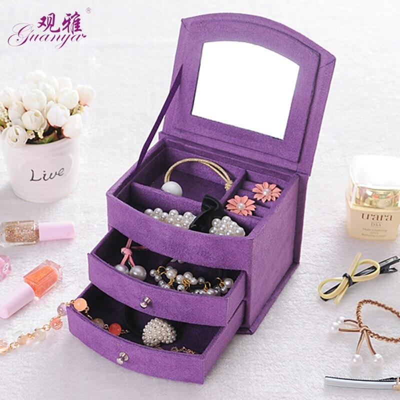 Heißer Verkauf Hohe Qualität Samt Drei Schichten Tragbare Multi-funktionale Halskette Ringe Schmuck Boxen Mode Design Geschenke Box