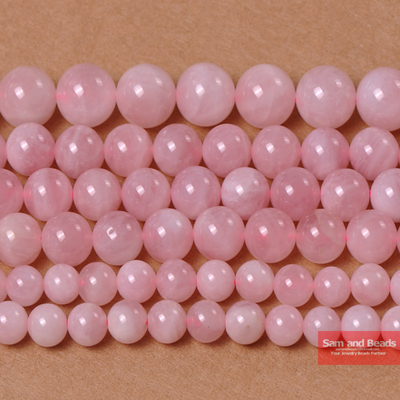 "Free Shipping Rose Pink Quartz Crystals Stone Beads 16"" Strand 4 6 8 10 12 14MM Pick Size For Jewelry Making RPQB01(China)"