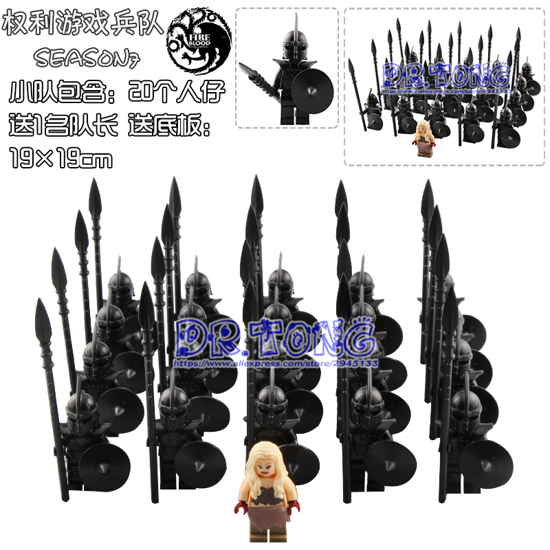 21PCS Game of Thrones Action Figure Eddard Stark Dragon Queen Unsullied Medieval Soldiers Building Blocks Gift Toys for Children