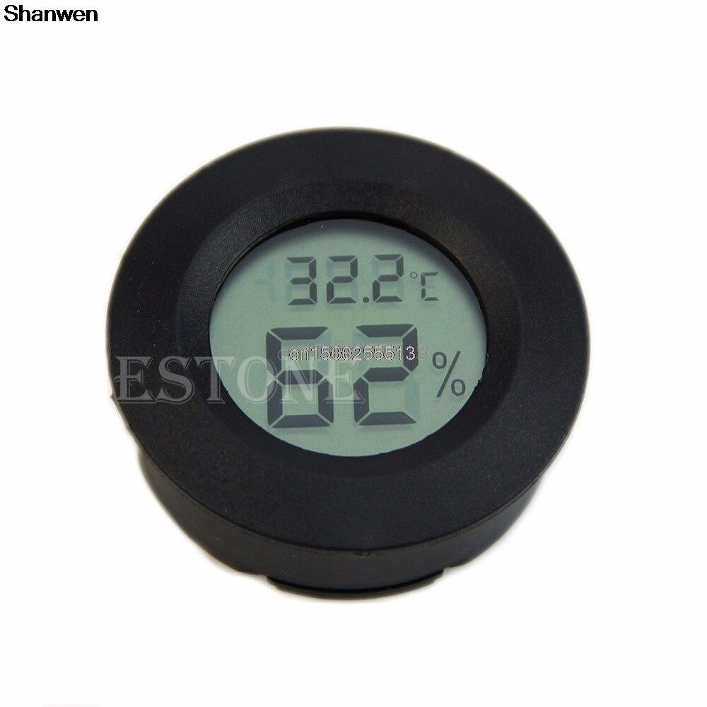 Digital Thermometer Cigar Humidor Hygrometer Round Black Termometer Putih Face