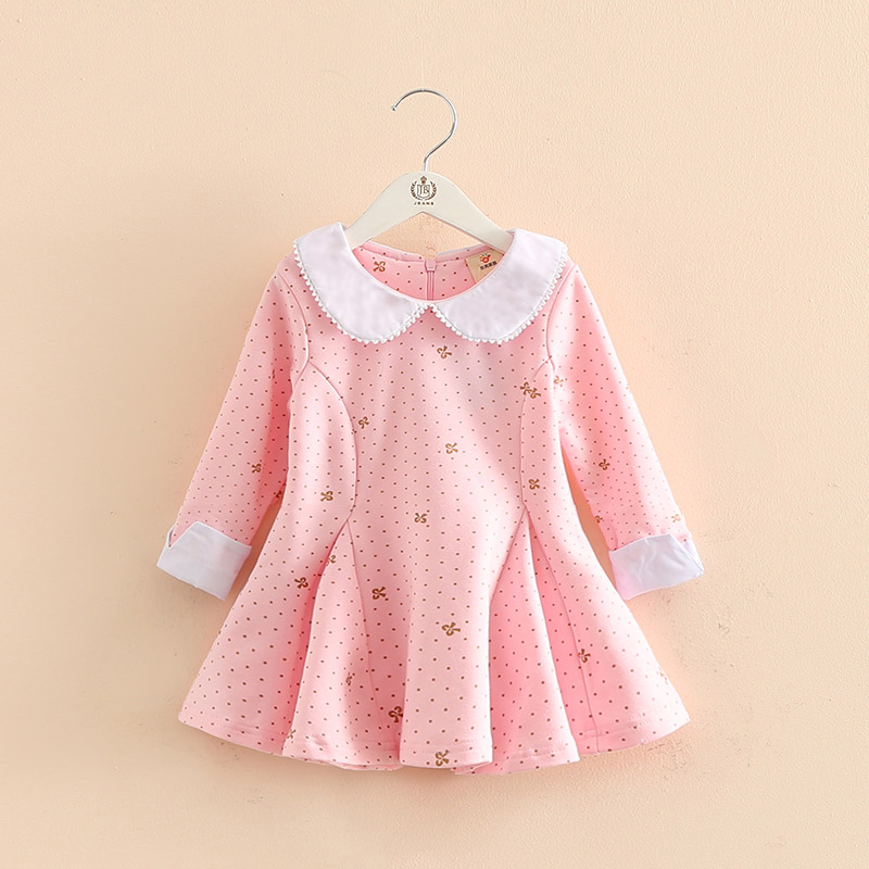 Baby girl autumn dress children dot bow printed long sleeve clothes kids casual cotton clothing winter princess girls dresses серьги chantal серьги