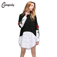 Cinmeprity Black Patchwork Rose Embroidery Blouse Fake Two Pieces Women Blouse Long Sleeves Shirt Fashion Tops