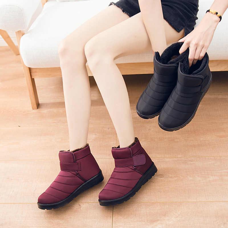Novo 2018 mulheres sapatos de inverno unisex botas de neve de pelúcia dentro antiderrapante à prova dantiágua botas femininas sapatos planos tamanho grande 35-46 wsh3140