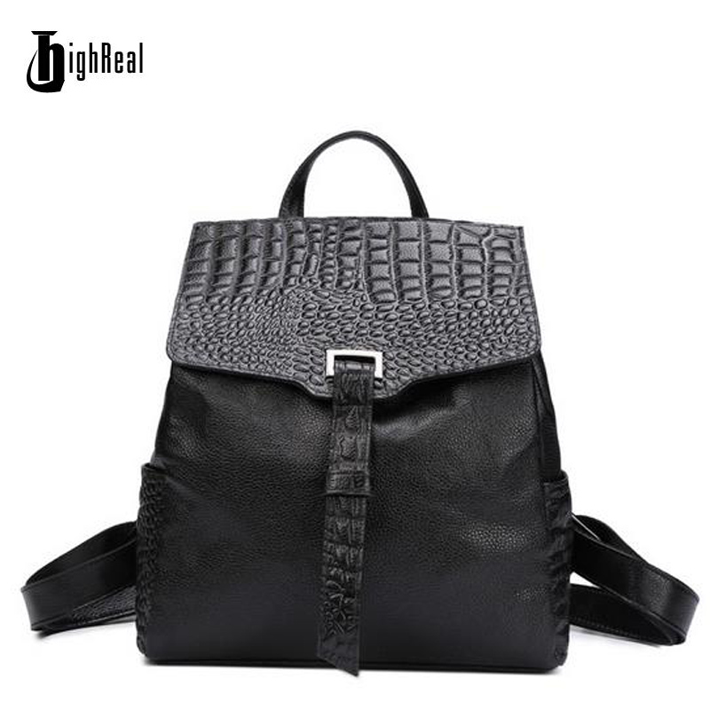 HIGHREAL New Arrival 100% Genuine Leather Women Backpack Solid Designer Student School Bags Fashion Hot Ladies Laptop Bag