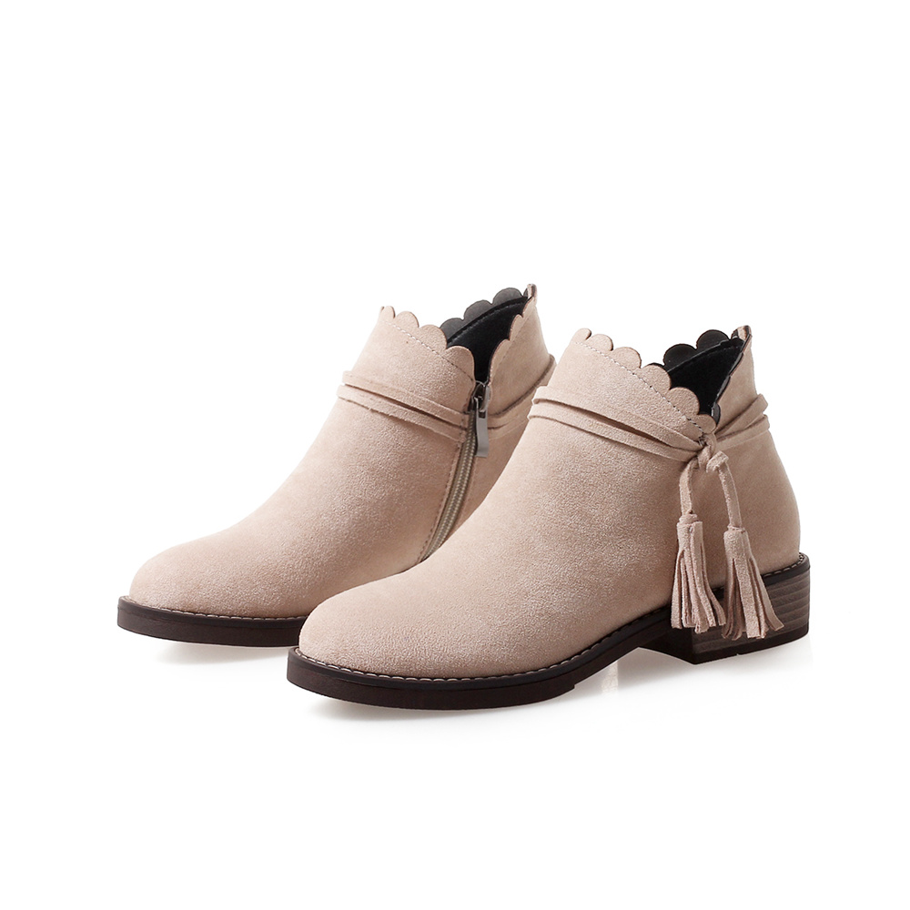 Woman Boots Women Ankle Boots Shoes Woman High quality Flock S Square Heels Plus Big Size 10 BA HFL 2263
