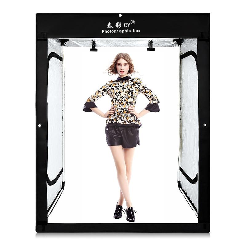 CY 8 * LED bandes + 200x120x100 cm Photo Studio Tente Tir Lumière Softbox Soft Box pour modèle corps portrait vêtements photo tir
