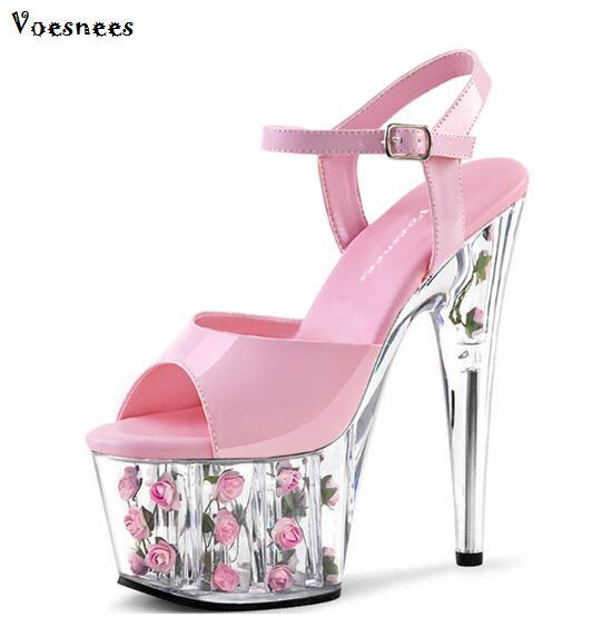 Shoes Woman Platform Sandals Summer Rose Sandals Slides Wedding shoe Nightclub Sexy 15cm High-heeled Shoes Plus-size 34-44