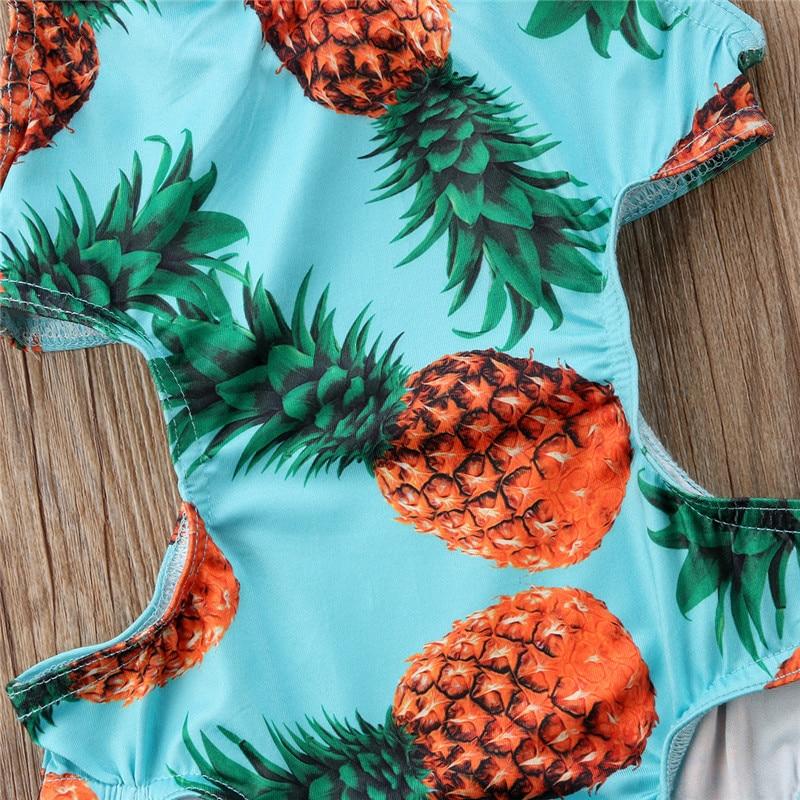 Pudcoco Summer Kids Baby Girls Printed Pineapple Bodysuits One-Pieces Beachwear Swimsuit Bathing Suit Girls Bodysuits Blue 1-4T