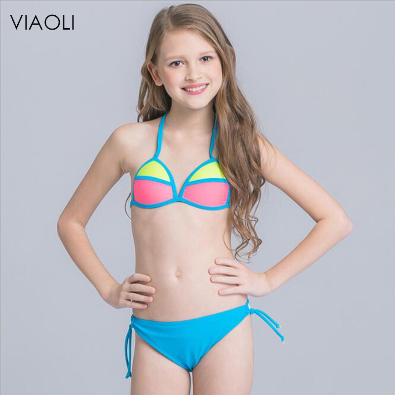 67d153d7b7 Baby Girls Swimsuit New Arrival Color Block Stitching Big Child Girl Kids Girls  Bikini Set Swimwear Bathing Swimming Costume-in Children's Two-Piece Suits  ...