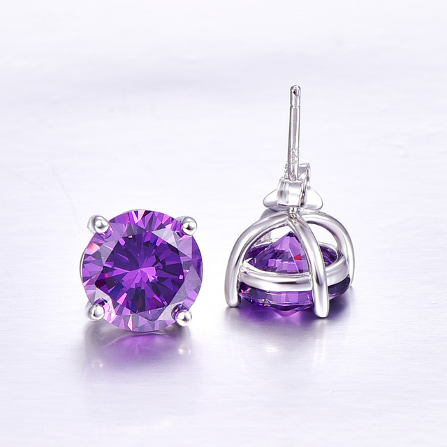 BONLAVIE Oval 6.5ct Natural Purple Amethyst Birthstone Stud Earring Pure 925 Sterling Silver Jewelry Party Classic Stud Earrings