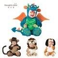Детские хэллоуин экипировка динозавров ползунки Динки Дракон фото реквизит хеллоуин костюм малыша толстовки одежда для младенцев