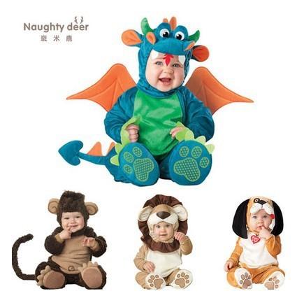 Bebê o dia das bruxas roupa dinosaur romper Dinky Dragão foto adereços traje de halloween da criança hoodies roupas para bebês