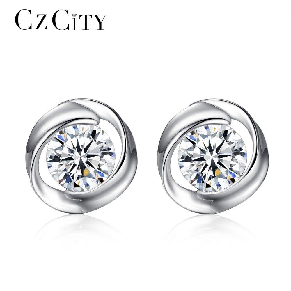 CZCITY Brand Cute Stud Earrings For Women Simple Rose Flower CZ Stone Genuine 925 Sterling Silver Jewelry Earring Wholesale