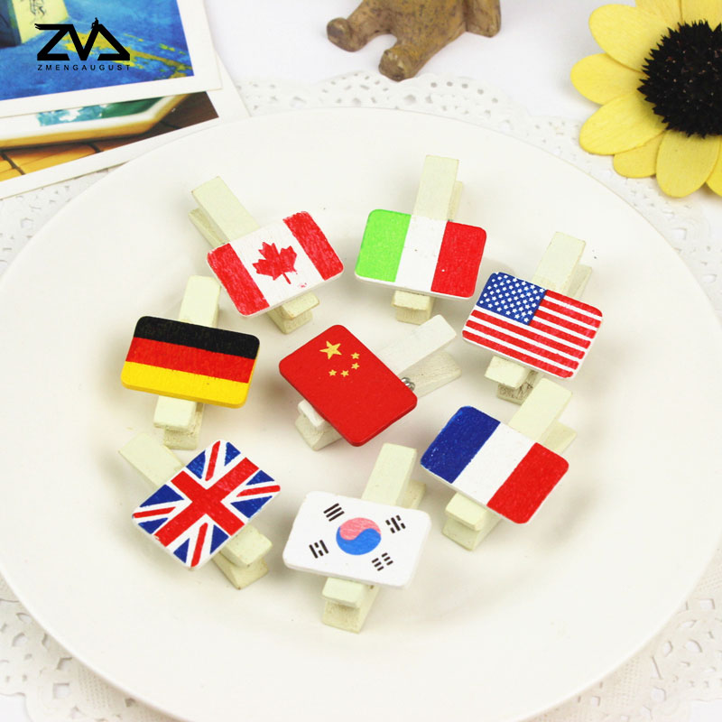 8 Pcs/pack Cartoon National Flag Photo Clips Wooden Clip DIY  Paper Craft Peg Pin Clothespin Craft Clips Party Decoration